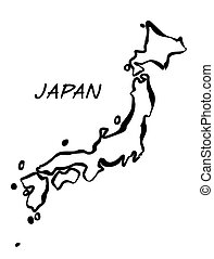 Black Vector drawing map of Japan.