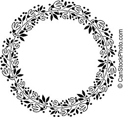 Black vector floral border wreath - flower design for wedding invitations