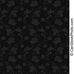 Black vector floral silhouette seamless pattern, ready to use