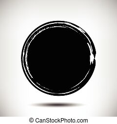 Black vector grunge circle background. Black textured...