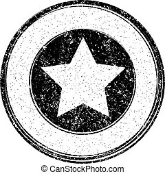 Black vector grunge template with star for rubber stamp