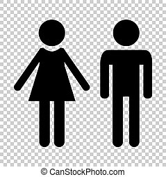 Male and female sign. Flat style icon on transparent background