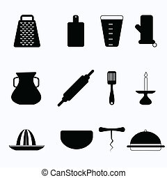 Black vector icons for kitchenware