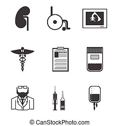 Black vector icons for nephrology - Set of black silhouette...