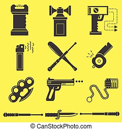 Black vector icons for self defence
