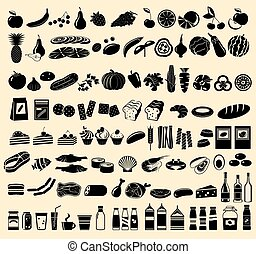Black vector icons of products