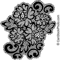 Black vector lace ornament - Vector ornament. Black lace...