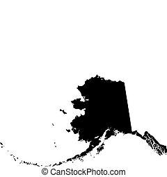 black vector map of Alaska