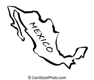 Black Vector map of Mexico