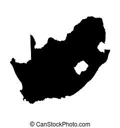 black vector map of South Africa