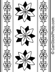 black , (vector), model, witte , seamless, ouderwetse