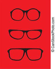 Black vector nerd professor glasses