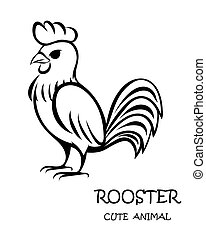 Black vector of cute rooster eps 10.