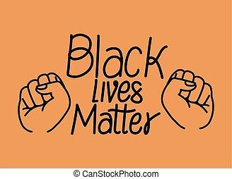 black , vector, ontwerp, van belang zijn, vuisten, leven