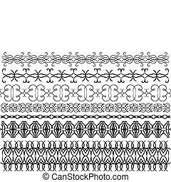 black vector ornamental trims