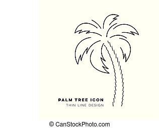 Black vector palm tree thin line icon
