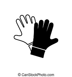 Black vector protective gloves pair icon - Simple black...