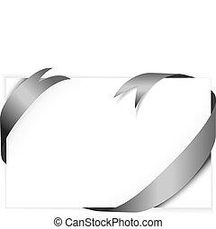 black vector ribbon around blank white paper