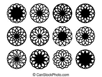Black-vector-round-geometric-ornaments-set-isolated - Black ...