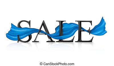 Black vector SALE sign with blue silky ribbon trough it -...
