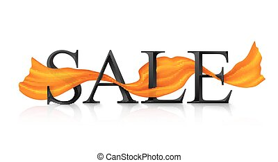 Black vector SALE sign with orange silky ribbon