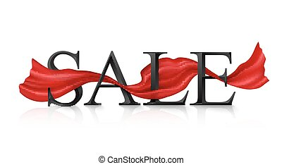 Black vector SALE sign with red silky ribbon