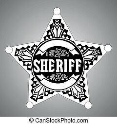 Sheriff star - Black vector  Sheriff star on gray background