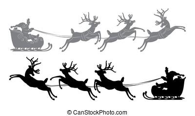 Flying Santa Claus in a reindeer sleigh