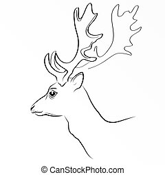 Black vector silhouette of deer s head with antlers isolated on white background . Eps 10 vector illustration