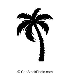 Black vector single palm tree icon