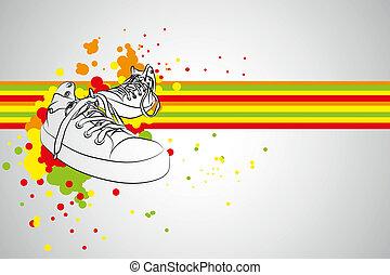 vector sneakers - black vector sneakers on gray background (...