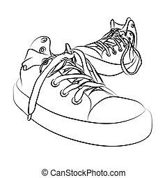 black vector sneakers on white background (illustration)