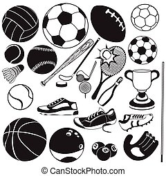 black , vector, sportende, bal, iconen