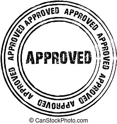Black vector stamp for approved