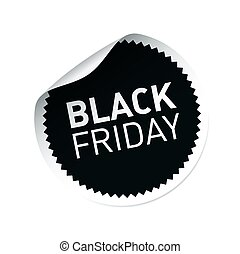 Black vector sticker and text BLACK FRIDAY
