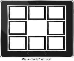 Black vector tablet pc set with white screen