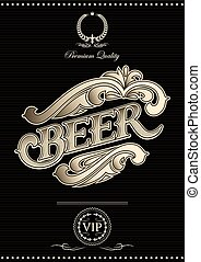 black vector template for the cover of beer menu
