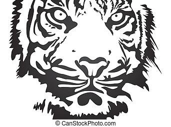 vector tiger - black vector tiger on white background