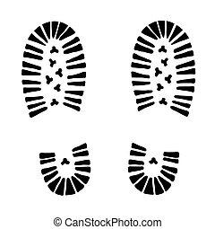 black vector trail foot on white background (illustration)