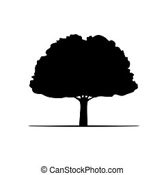 Black Vector Tree and Roots. Vector Illustration.