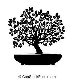 Black Vector Tree. Illustration Bonsai.