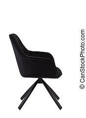 black velvet armchair isolated on white background. modern black velvet lounge side view. soft comfortable upholstered chair. interrior furniture element.