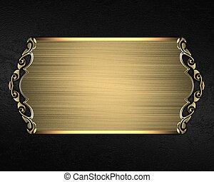 Black velvet background with gold plate. Element for design....