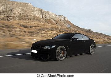 Black velvet sport sedan on the road. Left side view