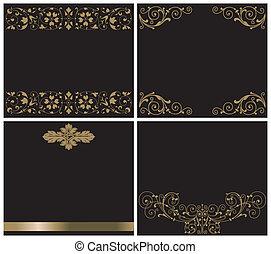 black , versieringen, goud