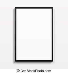 Black vertical frame hanging on a white wall.