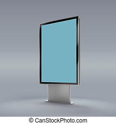 Black vertical turned monitor mockup grey background.
