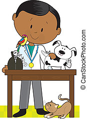 Black Vet and Pets - Black veterinarian tending to a dog. A...