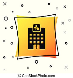 Black Veterinary medicine hospital, clinic or pet shop for animals icon isolated on white background. Vet or veterinarian clinic. Yellow square button. Vector Illustration
