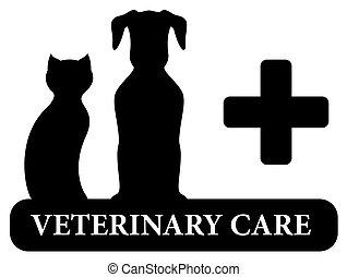 veterinary symbol with animal pet silhouette